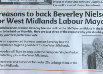 "Midlands ""Metro Mayor"" candidate gets her own party wrong on election leaflet"