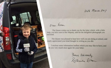 "Allesley's five-year-old ""Pupil of the Week"" gets a letter from Queen"