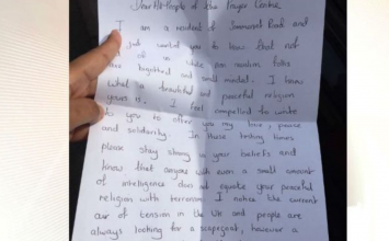 """Lovely"" letter delivered to mosque leaves worshippers ""overwhelmed"""