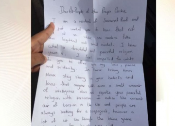 """""""Lovely"""" letter delivered to mosque leaves worshippers """"overwhelmed"""""""